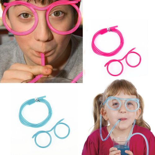 Creative Fun Soft Plastic Glasses Cold Drink Straw Funny Glasses Tube Gift New