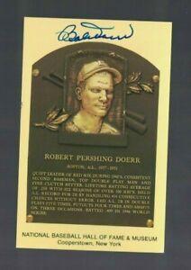 Bobby-Doerr-Boston-Red-Sox-Signed-Gold-HOF-Plaque-Postcard-W-Our-COA-MC
