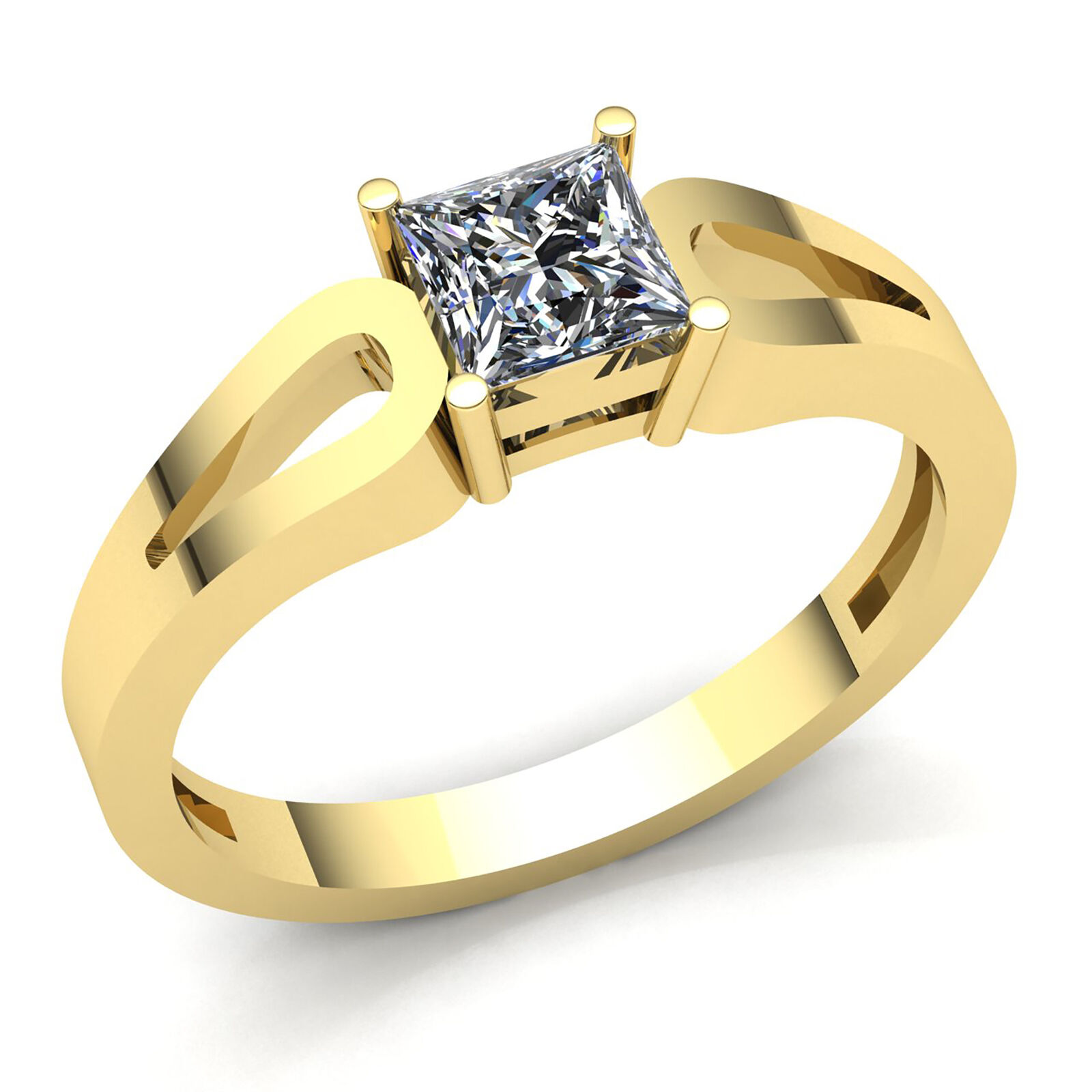 Real 0.6carat Princess Diamond Ladies Bridal Solitaire Engagement Ring 18K gold