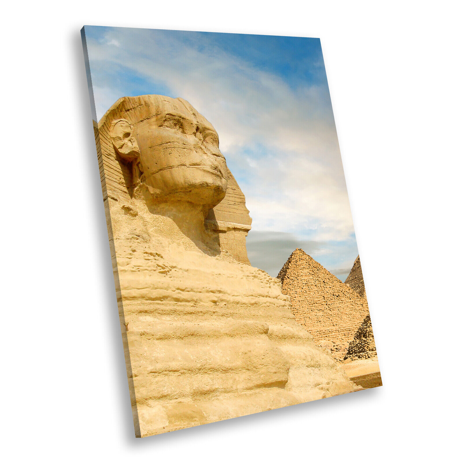 Egypt Sphinx Blau Gelb Portrait Scenic Canvas Wall Art Large Picture Prints