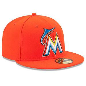 MIAMI MARLINS Road New Era 5950 MLB On Field Baseball Cap Orange MLB ... 0837900914f