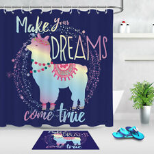 Cute llama drawing with letter Shower Curtain Bathroom Fabric 12hooks 71*71in