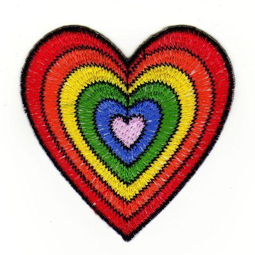 an01 Herz Regenbogen Aufnäher Bügelbild Patch Kinder Hippie Applikation DIY