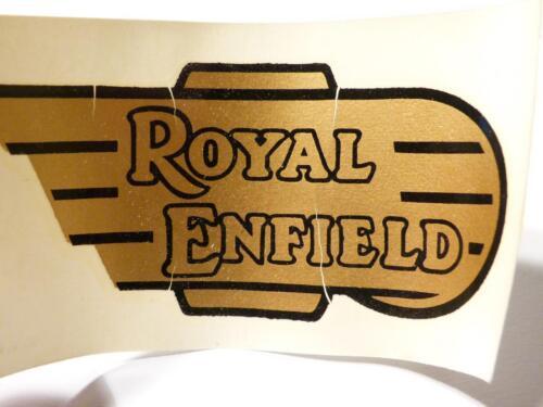 1 Vintage Original Royal Enfield Bullet Motorbike Tank gold DECAL Badge #D44 *