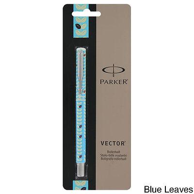 """""""Parker Vector Blue Leaves Rollerball Pen, Blue Ink, Medium Point - 1755397"""""""