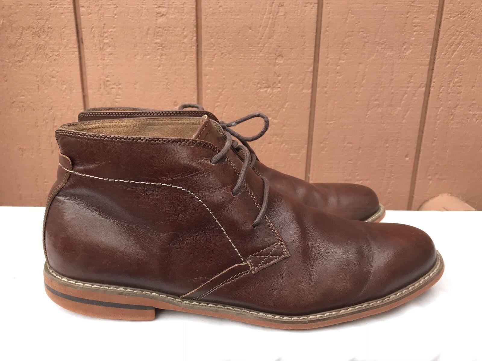 Excelente condición usada para hombre Florsheim Tobillo Chukka Marrón Cuero Con Cordones botas Talla EE. UU. 14M