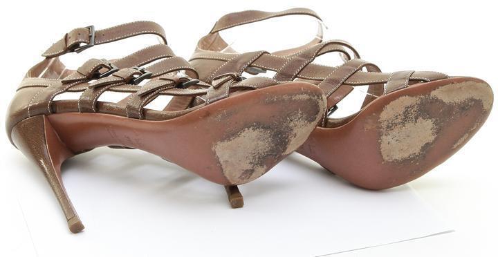 ALAÏA Sandal Sandal Sandal braun Leather Gladiator Heel Open Toe Weiß Strap 39.5 08cf94