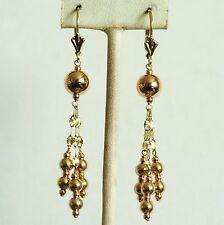 14k solid yellow gold dangle drop ball chandelier earrings leverback 2.0 gram