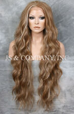 Super Long Brown Blonde mix HEAT SAFE Lace Front Wig Delicate wavy WEAJ 8-12-613