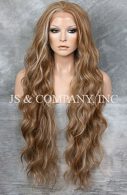 Super Long Brown Blonde mix HEAT SAFE Lace Front Wig Delicate wavy WEAJ 8-12-613