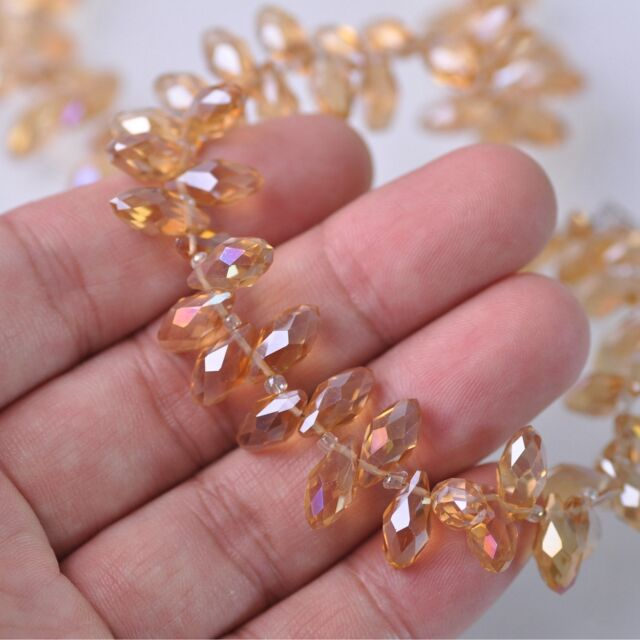 50pcs 12x6mm Teardrop Pendant Faceted Crystal Glass Loose Beads Aqua Rose AB