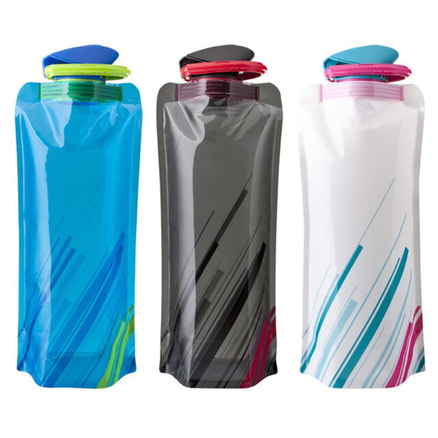 700ML Folding Soft Water Bottle Bag Kettle For Running Cycling Outdoor Sports