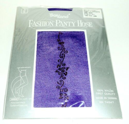 "SAXLAND Fashion Panty Hose With Glitter Design PURPLE Fits 5/'-5/'7/"" 100-165 Lbs"