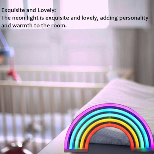 Colorful Rainbow Neon Sign LED Night Light Wall Lamp For Kids Children Room UK