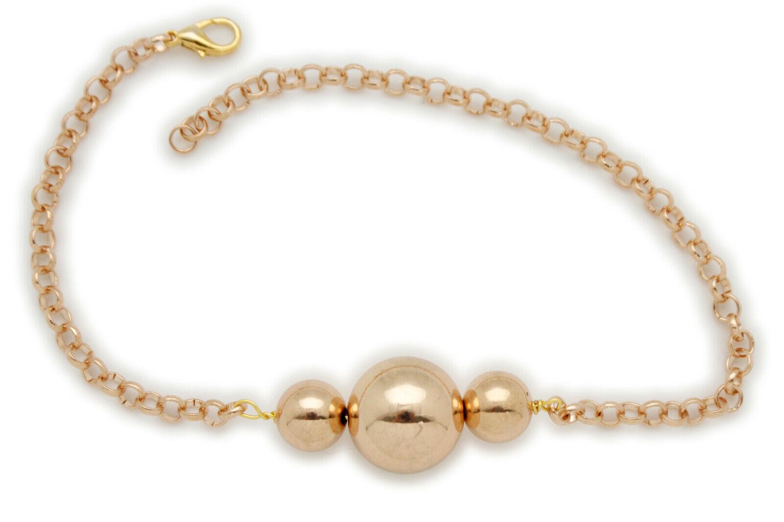 Rocker Women Gold Metal Chain Boot Bracelet Shoe 3 Ball Beads Charm Band Jewelry