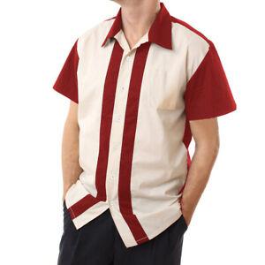 Mens-Stripe-Vintage-Cotton-Shirts-Short-Sleeve-Casual-Rockabilly-Bowling-Shirts