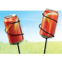 Set/2 Yard Outdoor Metal Beverage Holders For Bottles Or Cans In Box Stakes