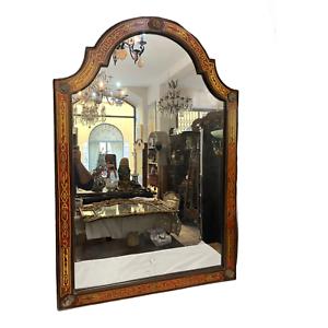 Specchiera francese, metà XX secolo, intarsi in legno e metallo, finiture bronzo