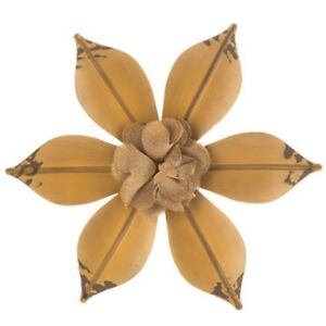 Image Is Loading Distressed Yellow Metal Flower Wall Decor W Burlap
