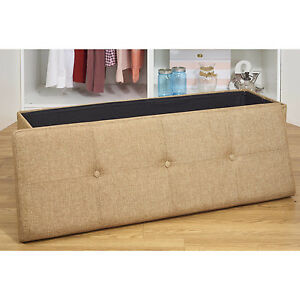 Tufted Ottoman Storage Bench Seat Linen Upholstery