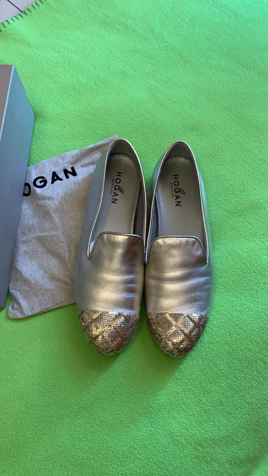 Hogan, plat argent mocassins. cuir, made in ITALY, taille 7.5 7.5 7.5 eu 40.5, Utilisé deca09