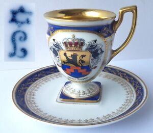 Cup-Saucer-Emblem-Reprove-Heinrich-Baensch-Lettin-Hand-Painted-Um-6266-5