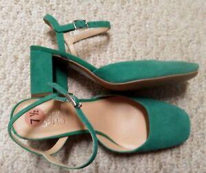FRANCO-SARTO-Green-LEATHER-Women-039-s-SZ-7-5-Block-Heel-Sling-Back-DRESS-Sandals