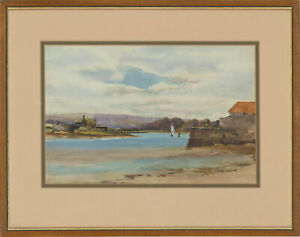 Framed-Early-20th-Century-Watercolour-English-Lake-View