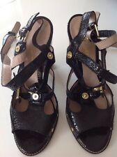 Mulberry Roxanne Ankle Sandal In Black Cracked Metallic Leather EU 39.5 UK 6