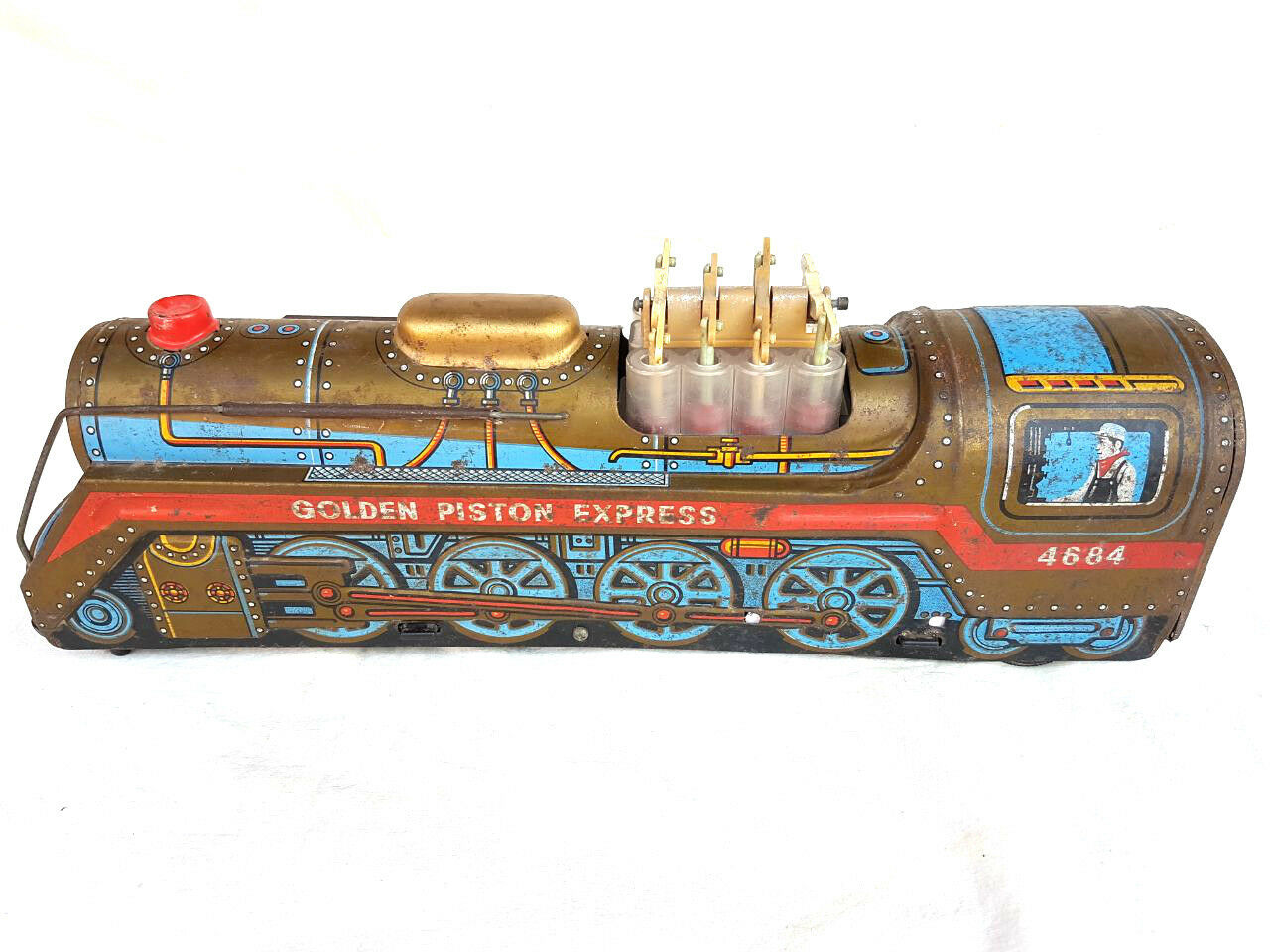 Rare Vintage Vintage Vintage Battery MT Tradmark golden Piston Express Litho Tin Train Toy JAPAN 4ff81b