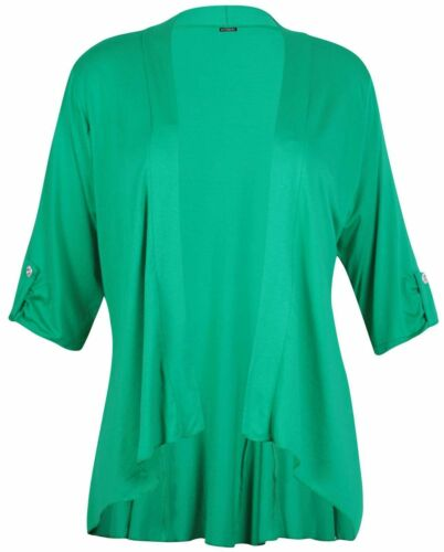 Nauvelle Plus Size Womens Waterfall Button Sleeve Open Front Cardigan Top 14-28