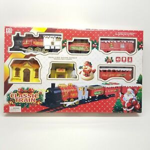 Classic-Christmas-Train-Set-with-Lights-and-Sound-25-pc-Battery-Operated-New