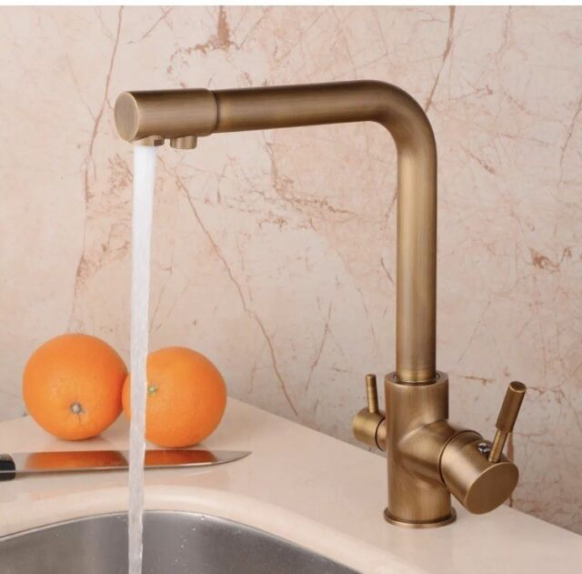 Hiendure Antique Brass Purified Water Outlet Kitchen Sink Faucet with Swivel