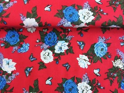 Polycotton Fabric Floral Black Pink Rose Vintage Ditzy Metre Special Offer