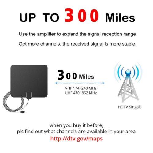 DIGITAL TV ANTENNA 300 MILE RANGE 1080P SIGNAL BOOSTER AMPLIFIER HDTV INDOOR 4K