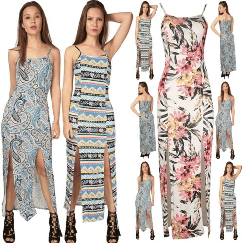 Womens Ladies Strappy Printed Paisley Front Double Split Cami Long Maxi Dress