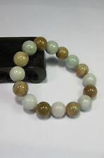 Natural Grade A light yellow/white  jade 10 mm beaded stretchy bracele(16 beads)