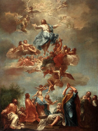 Oil painting Ascension of Christ with flying angels and Saints Hand painted art
