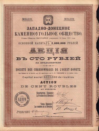 RUSSIA UKRAINE   COAL MINING Charbonnages  de l/'Ouest Donetz 1913 St Petersbourg