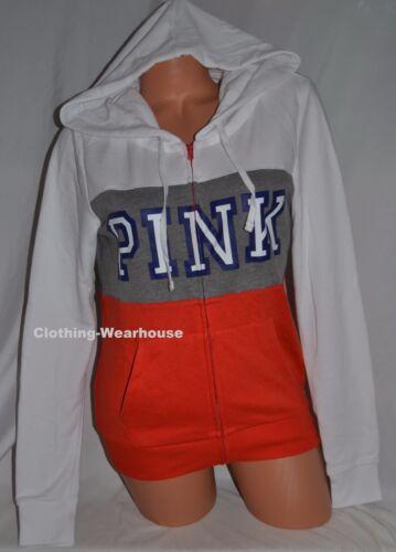 Grey Victoria's Rojo S Small Perfect Up Zip Pink Clay Hoodie White naranja Secret 1HIHq4