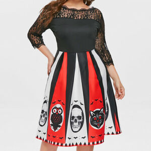 Women Halloween Party Print Lace Patchwork Backless 3/4 Sleeve Plus ...