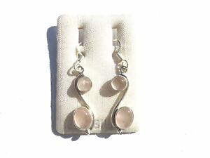 Rosenquarz-Ohrhaenger-Rose-Quartz-Earrings-925-Silber-NEU-E2356