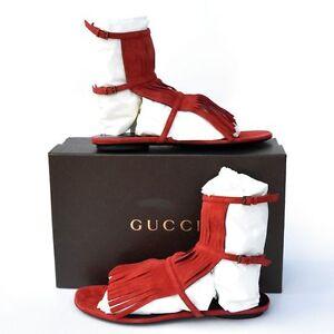 e02c952fab2f GUCCI New sz 37 - 7 Womens Gladiator Fringe Flats Shoes Sandals ...