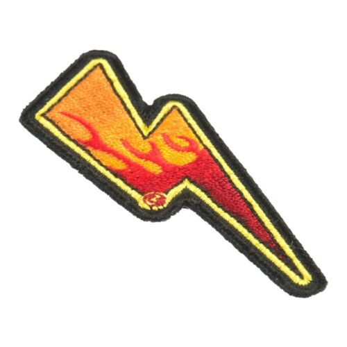 Flaming Lightning Bolt Right Patch Lightning Patches