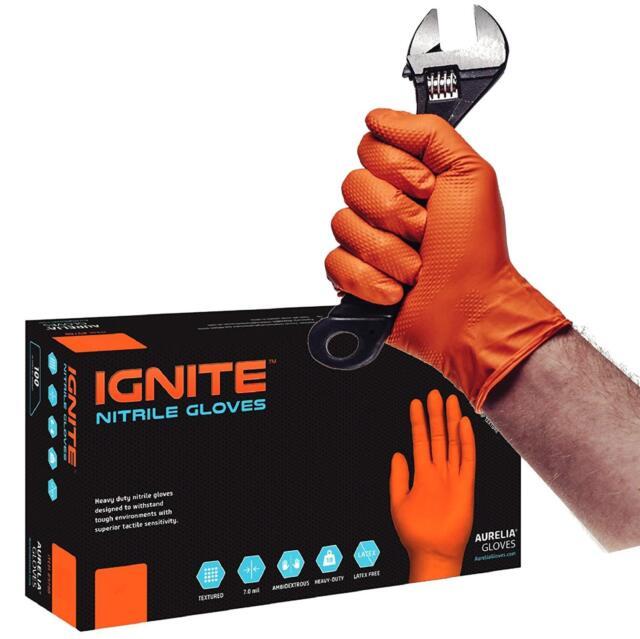 ORANGE Care On Case Size: 2X-Large Nitrile Exam Powder-Free Gloves