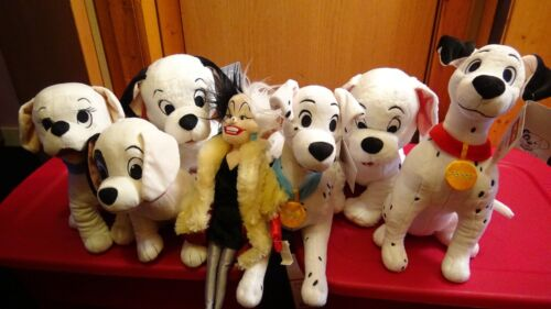 RARE Disney 101 Dalmatians PLUSH LOT SET Of 7! Perdita, Rolly, Cruella Deville