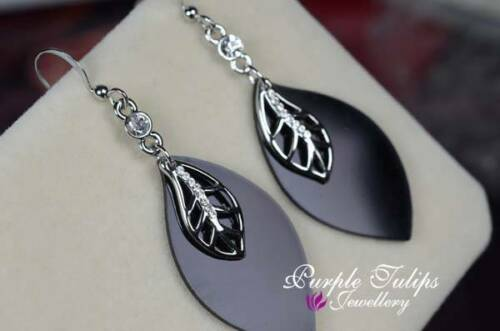 18CT White Gold Plated Black Leaves Dangle earrings Made With Swarovski Crystals
