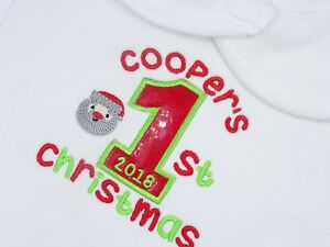 Personalised-Embroidered-APPLIQUE-1ST-SHINY1-CHRISTMAS-BABY-BIB-GROW-VEST-TSHIRT