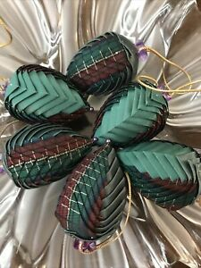 EASTER EGG  ornament Handmade Fabric Folded Pinecone Victorian Green Red Plaid