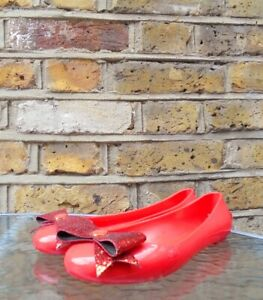 Ted-Baker-Women-039-s-Red-Flat-Ballerina-Melissa-Pumps-Bow-State-Shoes-Size-UK-5-NEW